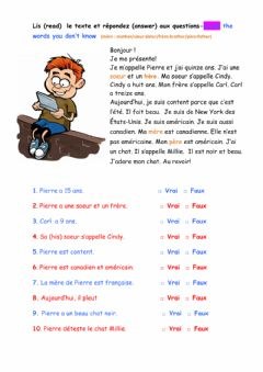 Interactive worksheet Les salutations-lecture