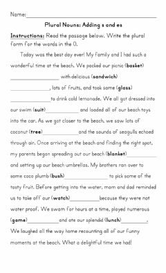 Interactive worksheet Plural Nouns Adding s and es