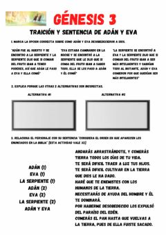 Interactive worksheet Génesis 3