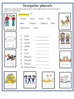 Interactive worksheet Irregular plurals