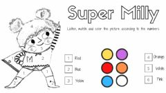 Ficha interactiva Color by numbers: Super Milly