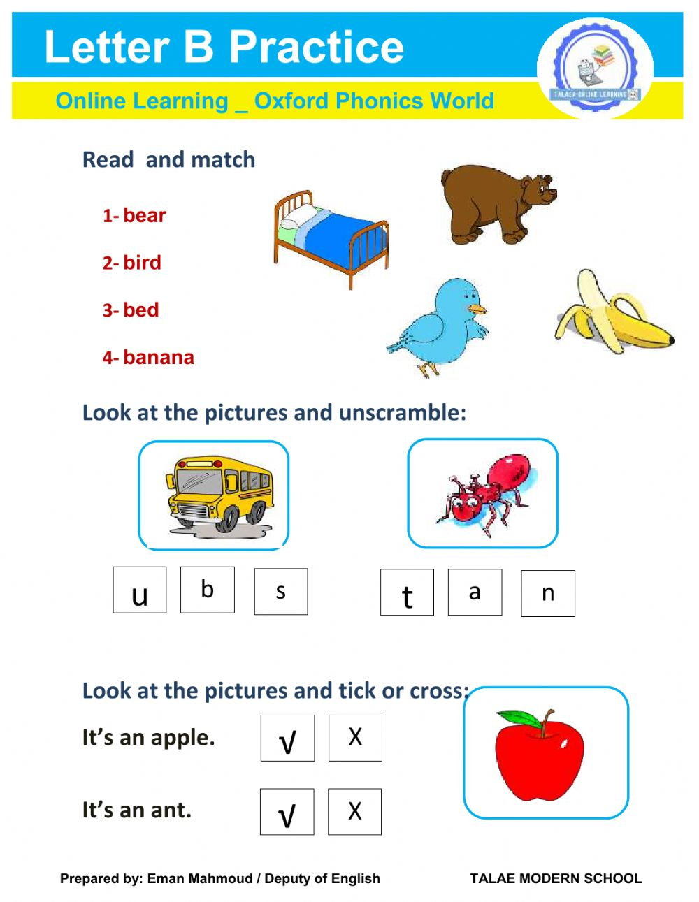 Practice Letter B Phonics Worksheet