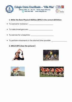 Interactive worksheet Basic Physical Abilities 5ºD