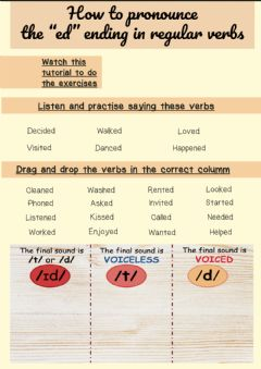 Interactive worksheet -ed- ending in regular verbs