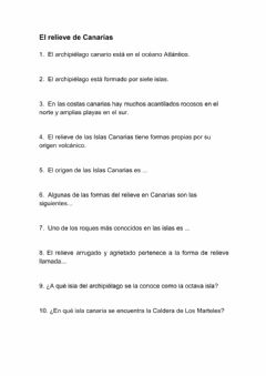 Interactive worksheet El relieve de las Islas Canarias