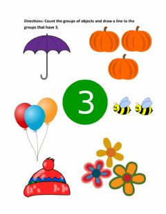 Interactive worksheet Matching 3 objects to number 3