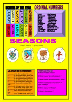 Interactive worksheet Months of the year,ordinal numbers,seasons