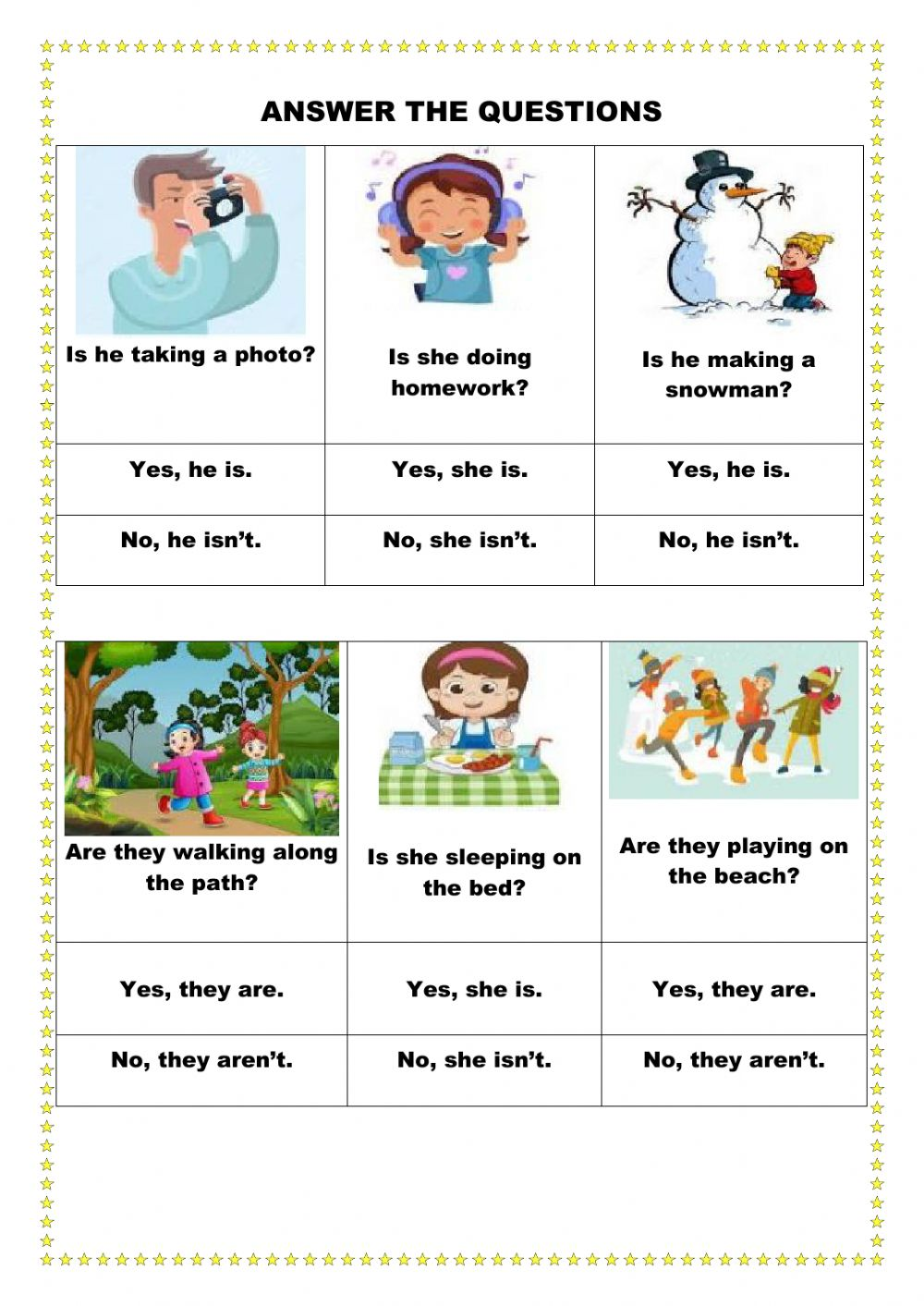 Answer the questions activity for Kids