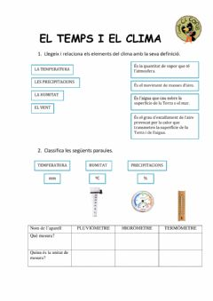 Interactive worksheet El clima i la temperatura