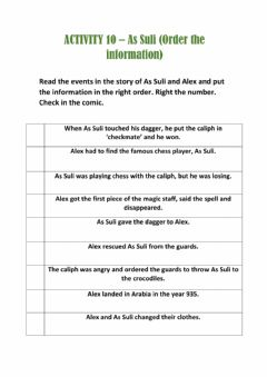 Interactive worksheet Activity 10- As Suli (order the information)