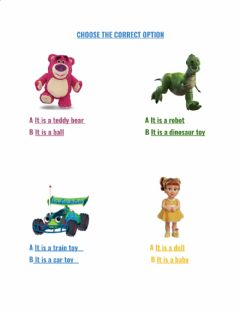 Interactive worksheet Listen and choose the correct option - my toys