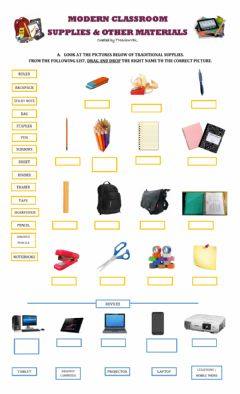 Interactive worksheet Modern Classroom Supplies and Materials