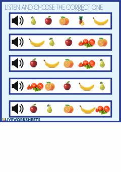 Interactive worksheet Fruits Activity