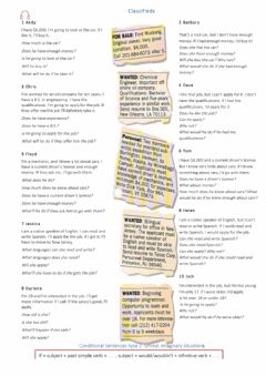 Interactive worksheet Conditional sentences type 2 reading