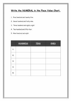 Interactive worksheet Number Names and Numerals in Place Value Charts