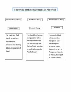 Interactive worksheet Theories of the settlement of America