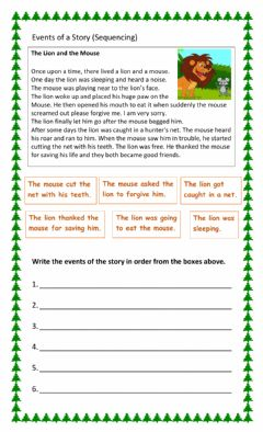 Interactive worksheet Events in a story