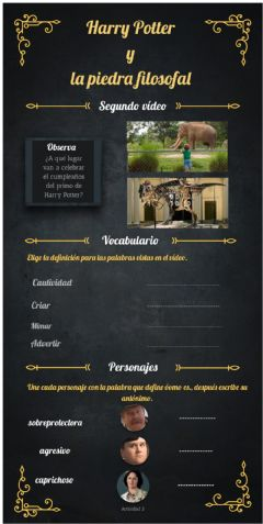 Interactive worksheet Vídeo 2 Harry Potter