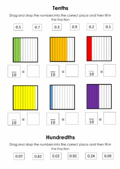 Interactive worksheet Decimals Tenths and Hundredths