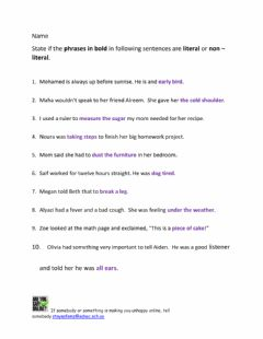 Interactive worksheet Literal and Non - Literal Sentences