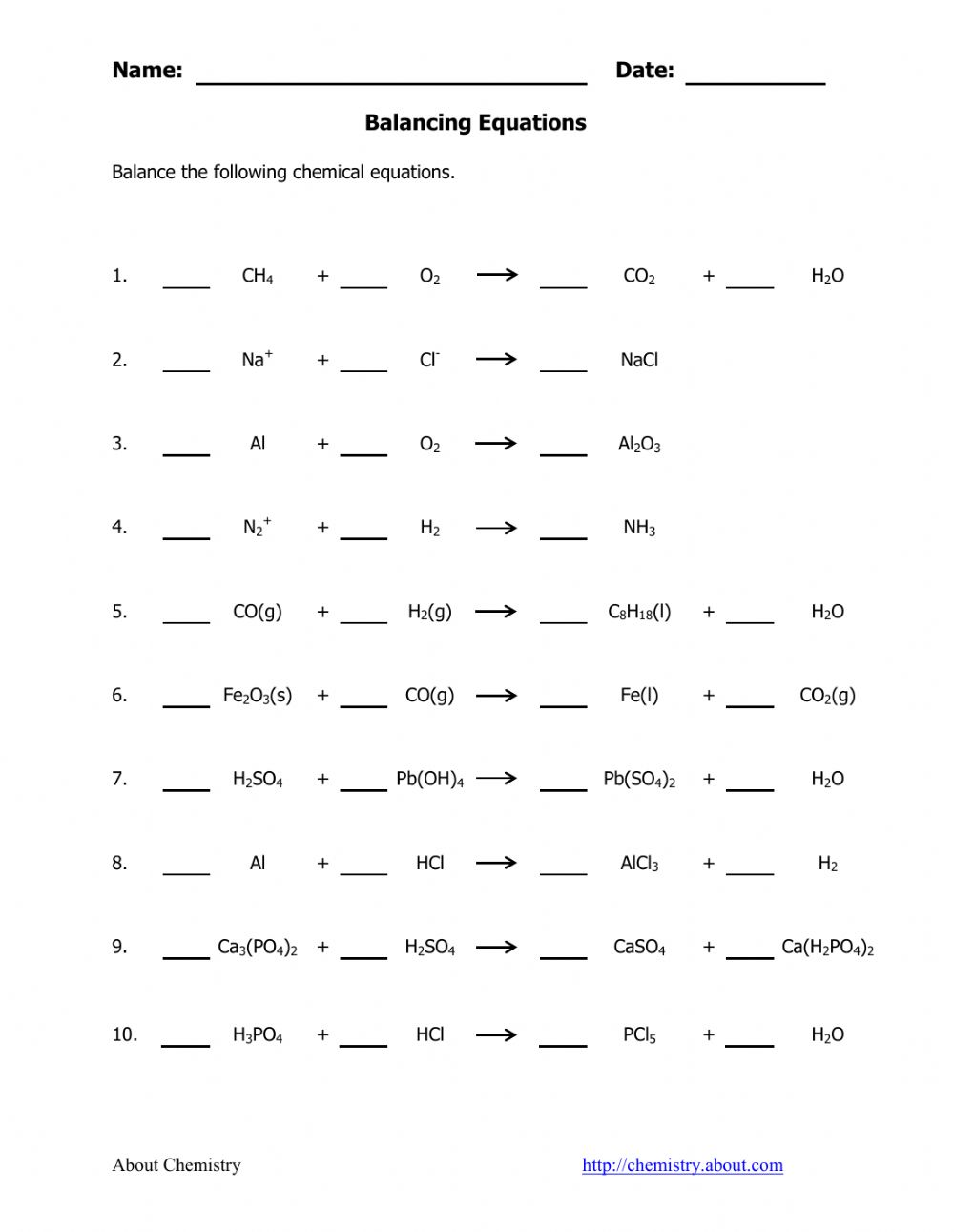 Identifying And Balancing Chemical Equations Worksheet ...