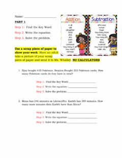 Interactive worksheet One step addition and subtraction word problems