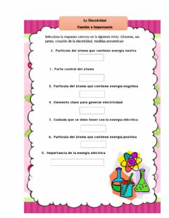 Interactive worksheet Electricidad