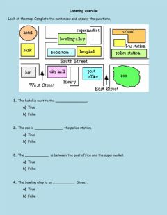 Interactive worksheet Directions through town