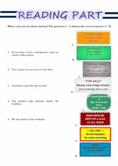 Interactive worksheet Reading and Writing KET