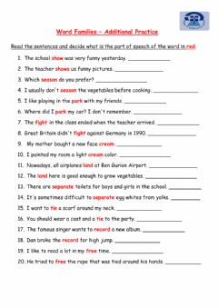 Interactive worksheet Word Families - Additional Practice