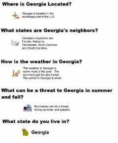 Interactive worksheet Georgia Location and Weather