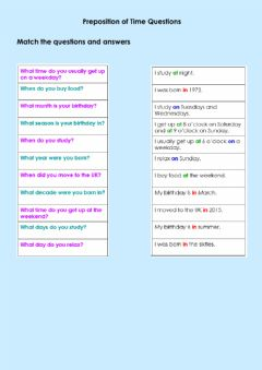 Interactive worksheet Preposition of time questions