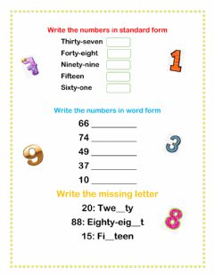 Interactive worksheet Number words to 100