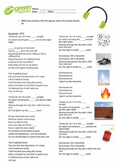 Interactive worksheet Song of the month - Dynamite
