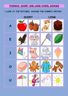 Interactive worksheet Phonics: Short and Long Vowel Sound