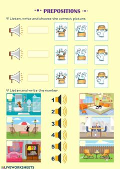 Ficha interactiva Prepositions and furniture