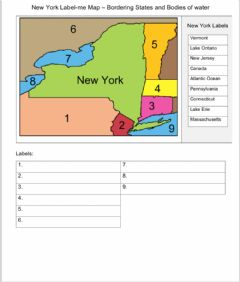 Interactive worksheet NEW York land and water borders