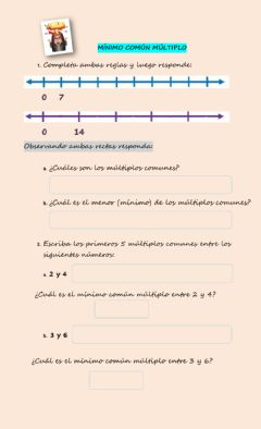 Interactive worksheet Múltiplos y mcm