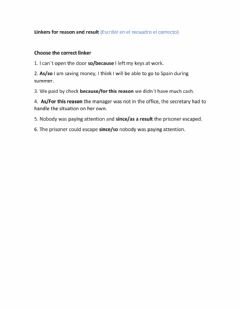 Interactive worksheet Linkers for reason and result