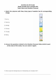 Interactive worksheet Activities for 5th Grade - October 6th