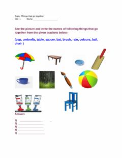 Interactive worksheet Things that go together  Std-1
