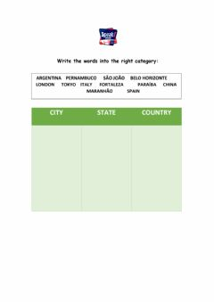 Interactive worksheet City, state, country