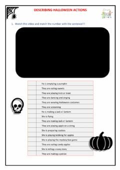 Interactive worksheet Halloween - Describing actions