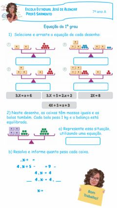 Interactive worksheet Equação do 1º grau