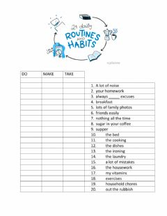 Interactive worksheet Collocations Daily Routine