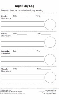 Interactive worksheet Night Sky log