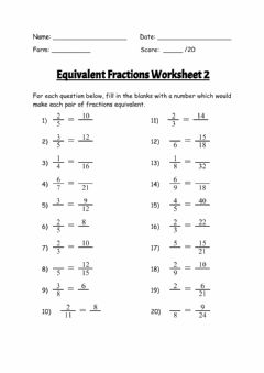 Ficha interactiva Equivalent Fractions Worksheet 2