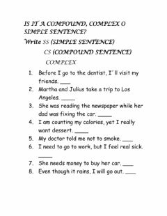 Interactive worksheet Complex compound and simple sentences
