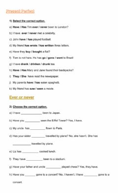 Interactive worksheet Present Perfect  + ever & never