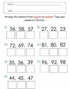 Ficha interactiva Arranging Numbers from Biggest to Smallest